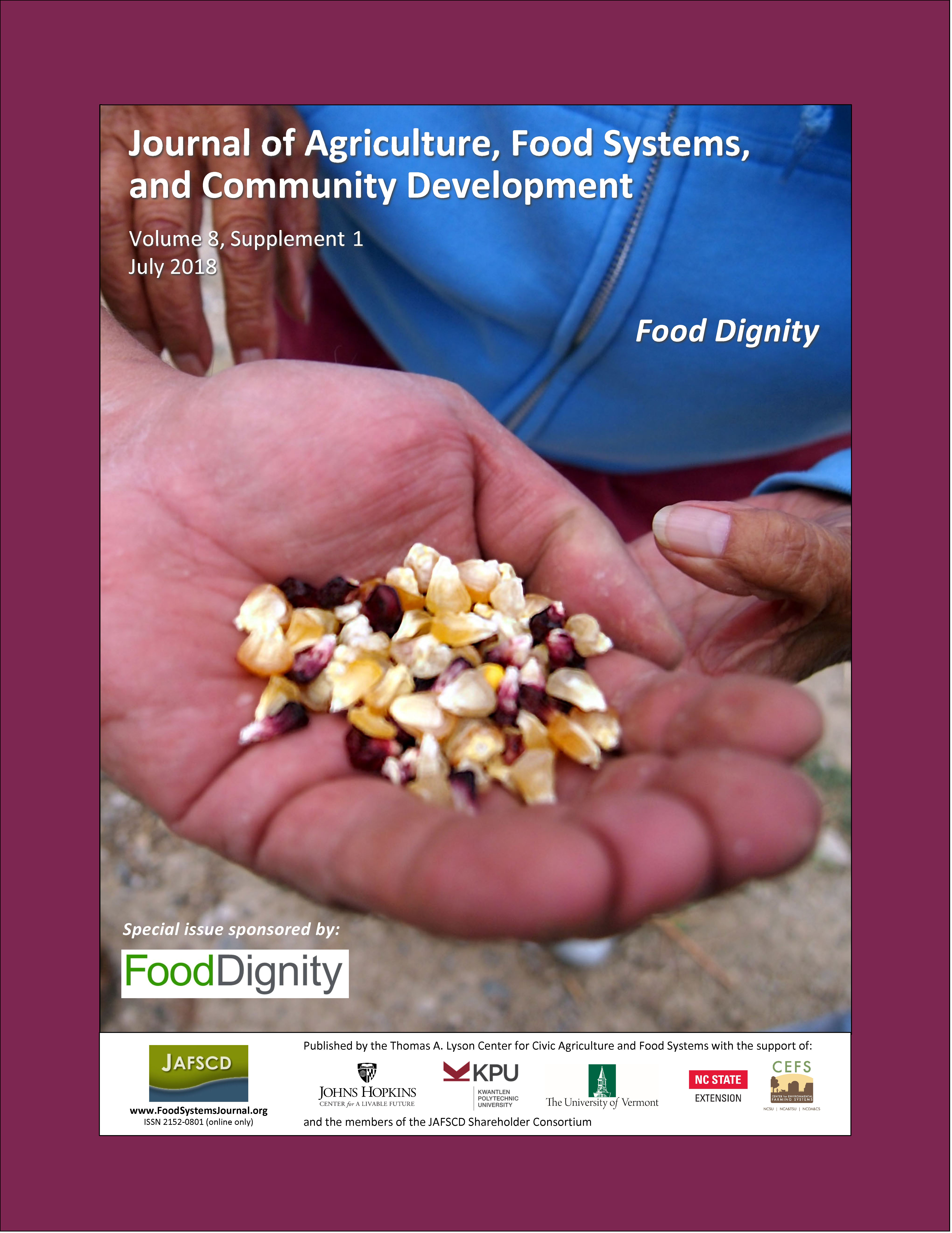 Cover of special issue on Food Dignity, with people holding heritage corn kernels